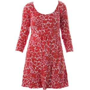Boden 3/4 sleeve red/white empire waist dress Sz 6